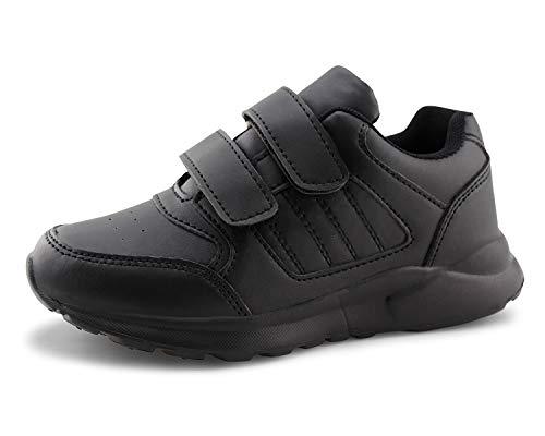 Jabasic Kids Running Sneakers White Black Hook and Loop School Uniform Shoes (Black,13) ()