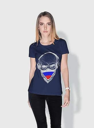 Creo Russia Skull T-Shirts For Women - L, Blue