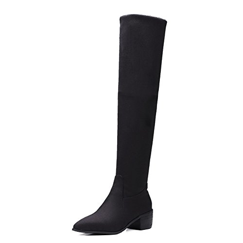 Pull Boots Pointed Solid Heels Black Kitten Women's Toe Closed Allhqfashion Frosted On xpv8qg7wx