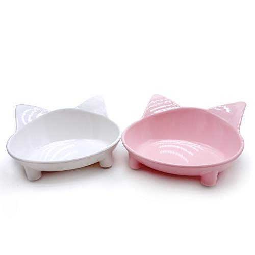 (Lorde Cat Bowls,Shallow Cat Food Bowls, Double Wide Cat Dish Non Slip Cat Feeding Bowls for Relief of Whisker Fatigue Pet Food & Water Bowls Set of 2)