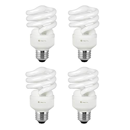 Compact Fluorescent Light Bulb T2 Spiral CFL, 2700k Soft White, 13W (60 Watt Equivalent), 900 Lumens, E26 Medium Base, 120V, UL Listed (Pack of 4)