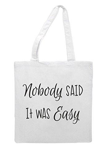 Easy Shopper Was It Nobody Said Statement Bag White Make Up Tote qtZngR