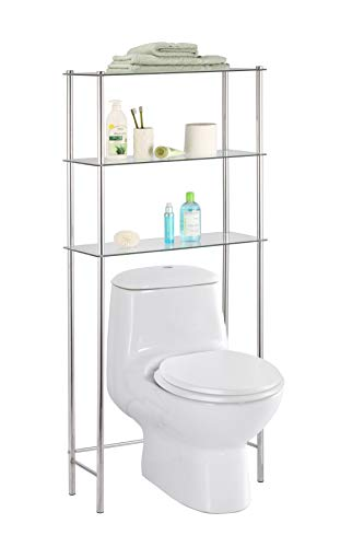 Home Basics  3 Tier Shelf Over The Toilet Space Saver with Tempered Glass Shelves for Bathroom Storage and Organization, Chrome (Shelves Tier Glass)
