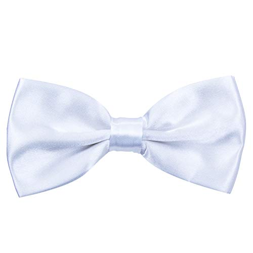 Men's Pre Tied Bow Ties for Wedding Party Fancy Plain Adjustable Bowties Necktie (White)