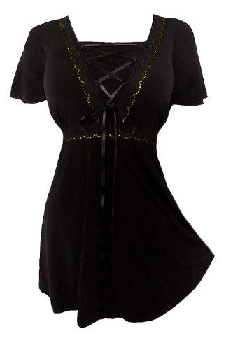 Dare to Wear Victorian Gothic Boho Women's Plus Size Angel Corset Top Black/Gold 3X