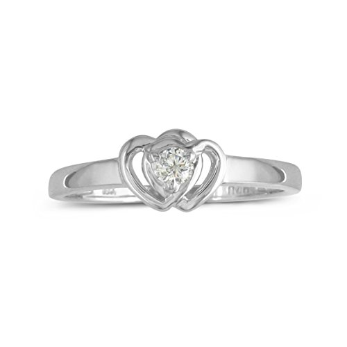 Sterling Silver Diamond Double Heart Promise Ring by Sparkle Bargains