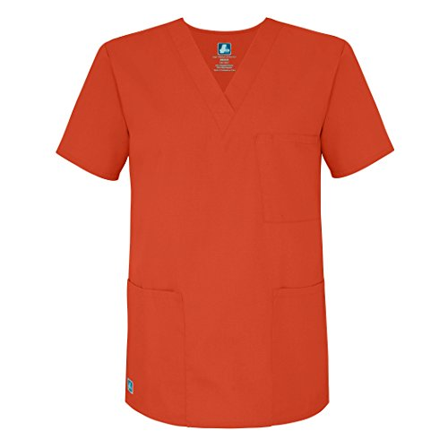 Adar Universal Unisex V-Neck Tunic 3 Pocket Scrub Top (Available in 39 Colors) - 601 - Mandarin Orange - S