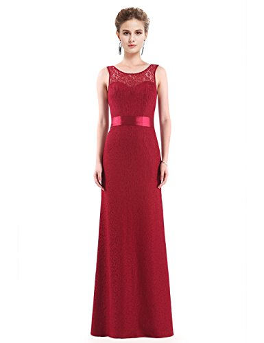 Burgundy Illusion - Ever-Pretty Womens Illusion Neckline Long Lace Military Ball Dress 8 US Burgundy