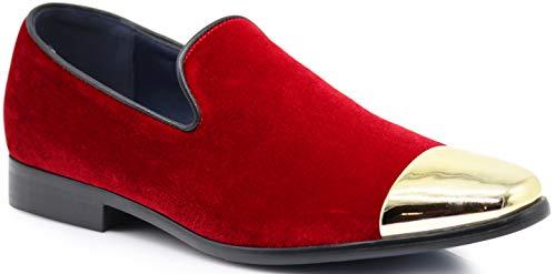 SPK17 Men's Vintage Fashion Velvet Chrome Toe Designer Dress Loafers Slip On Shoes Classic Tuxedo Dress Shoes (12 D(M) US, Red)