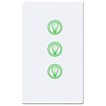 SANA Smart Light Switch,Wi-Fi Switch In-wall Wireless Switch,No Hub Required(3 Switches in 1 Gang) SASW-03