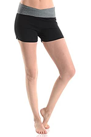 Mopas Women's 3-Pack Fold Over And Solid Waistband Yoga Shorts Small Multicolor