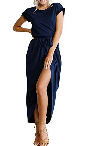 (ECHOINE Women Solid Office Work Wrap Maxi Dress Short Sleeve with Belt Navy Blue )