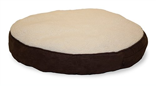 FurHaven Pet Dog Bed | Faux Sheepskin & Suede Round Pillow Pet Bed for Dogs & Cats, Espresso, 48-Inch