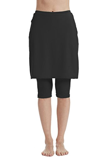 (Micosuza Womens Skirted Swim Capris Sun Protective UPF 50+ Swimming Tight with Attached Skirt Sport)