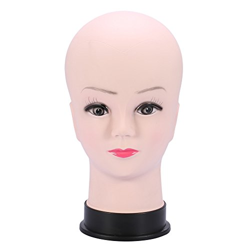 (TOOGOO PVC Mannequin Head Model Female Wig Making Hat Display Base Eyelash Makeup Practice Traning Bald Head Model)