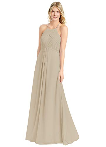 Wome's A Line Halter Ruched Chiffon Bridesmaid Dresses Long Evening Formal Gown (2 Champagne)