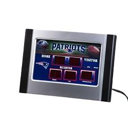 NFL New England Patriots Logo Scoreboard Alarm Desk Clock, Small, Multicolored