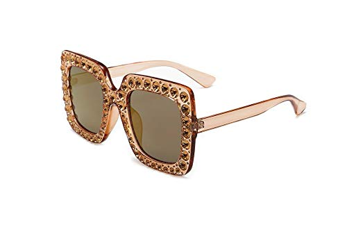 Large Jeweled Sunglasses for Women Crystal Bling Studded Oversized Square Frame (Clear Champagne, ()
