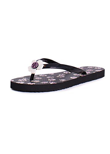 Tory Burch Flower Printed PVC Flip Flop Sandals in Black Sta