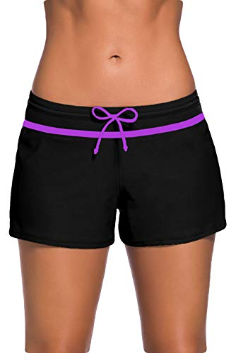 Women Sports Summer Bottom Slit Swim Beach Board Shorts(Purple,Large)