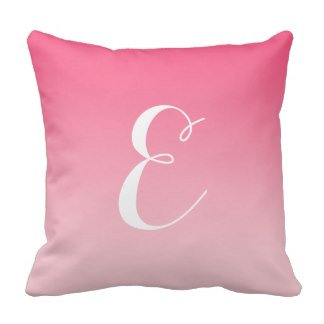HFC Case Decorative Cotton Girly Modern Pink Ombre Custom Monogram Throw Pillow 18