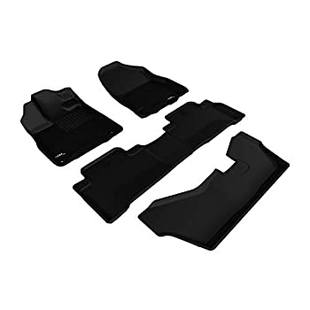 Image of Cargo Liners 3D MAXpider L1AC00601509 Complete Set Custom Fir All-Weather Floor Mat for Select Acura MDX Models - Kagu Rubber (Black)