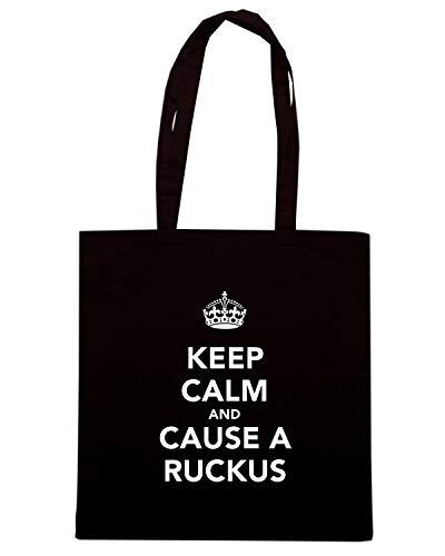 Speed Shirt Borsa Shopper Nera TKC1887 KEEP CALM AND CAUSE A RUCKUS