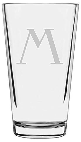 Celtic Etched Monogram All Purpose 16oz Libbey Pint Glass (Letter M) - Monogram Pint Glass