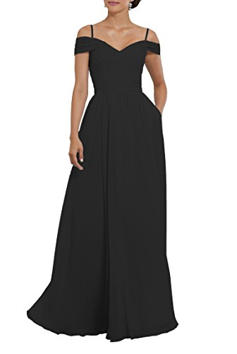 Chiffon Pleats Evening Gown - Women's Off The Shoulder Pleated Chiffon Formal Evening Gown Long Bridesmaid Dress With Pockets Size 4 Black