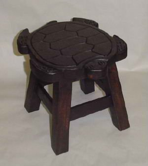 ooden Foot Stool in Dark Stain Finish ()