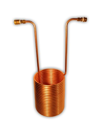 Wort Chiller - 50' Premium Copper Immersion Chiller with Brass Fittings by Made in the USA
