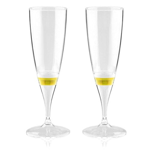 Generic 2pcs Yellow Light LED Champagne Glass Goblet Cup