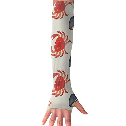 - TO-JP Sports Arm Sleeves UV Sun Protection Arm Sleeves Marine Life Lobster Cooling Arm