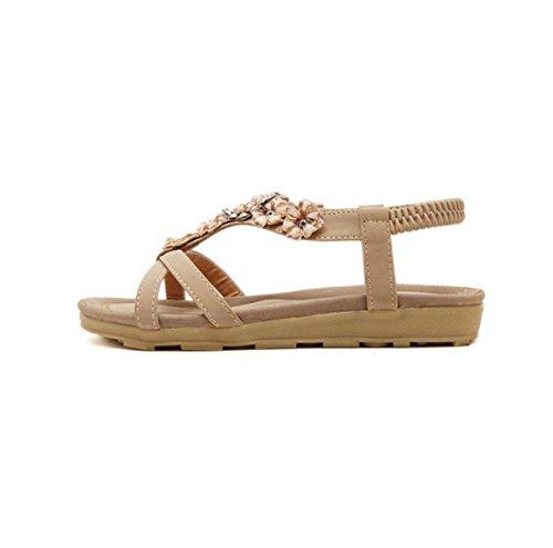 GRRONG Flores Sandalias Planas Zapatos Zapatos De Mujer apricot