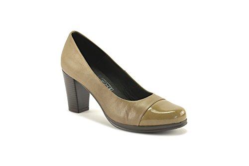 ConBuenPie by Desiree - New Collection - Zapato con tacón en piel en color Negro, Cuero y Taupe (40, Taupe)