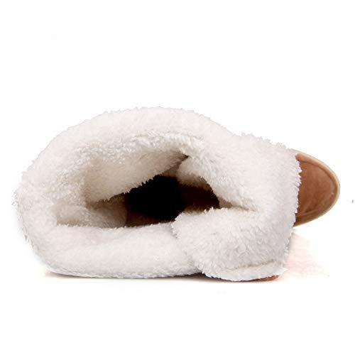 Autunno Stivaletti Boots Tacco Cavaliere Snow Martin Scarpe Rotonde Stivali Con Inverno Invernali Donna Marrone Piatte Alto Eleganti Stringate Challenge 8Fawq4