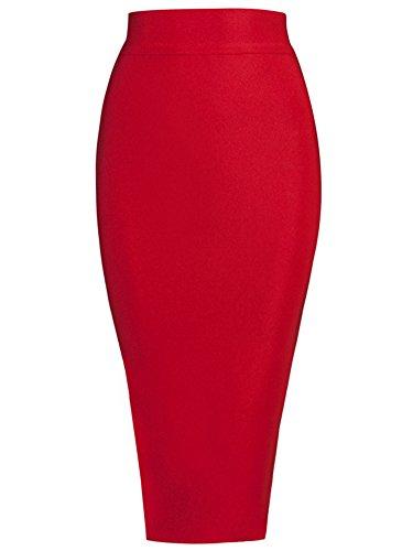 Alice   Elmer Womens Rayon Split Knee Length Bodycon Bandage Skirt Red M