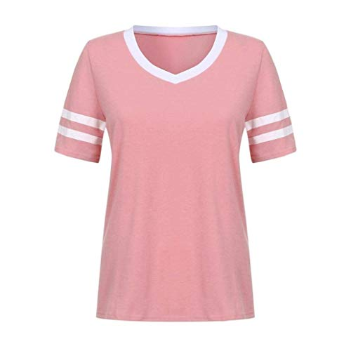 Pullover V Courtes Cou Shirt Sweatshirts Et BIRAN Rayures Confortable Tee Rose Mode Elgante breal Casual Femme Tshirts Jeune Manches Mode vBqYP8