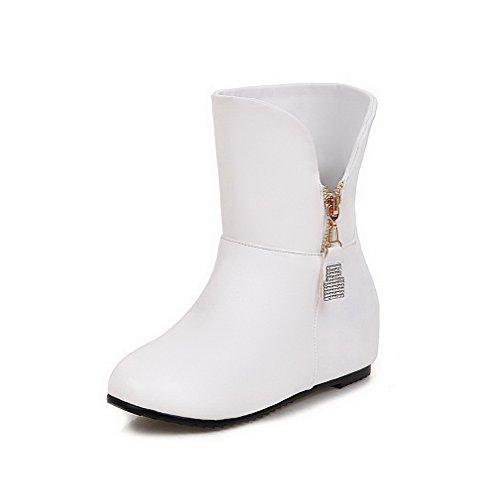 Allhqfashion Womens Zipper Tacco A Gattuccio Pu Solid Low-top Stivali Bianco