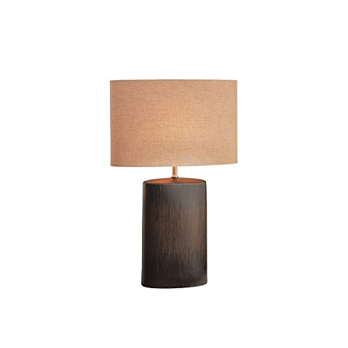 Lite Source LS-21024 Narvel Ceramic Table Lamp, Antique Bronze with Tan Fabric Shade - bedroomdesign.us