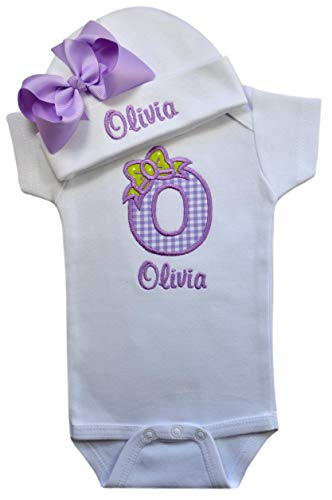 Baby Girl Embroidered Initial Onesie Bodysuit and Matching Grosgrain Bow Hat with Your Custom Name (3-6 Months, Lavender Gingham with Lavender Bow ()