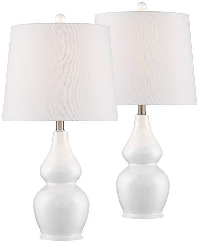 Jane Modern Table Lamps Set of 2 Ceramic White Double Gourd Drum Shade for Living Room Family Bedroom Bedside Nightstand - 360 Lighting ()