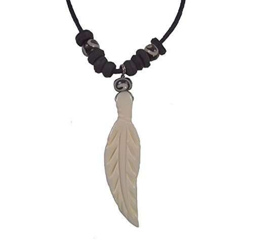 - Ox Bone Feather Necklace