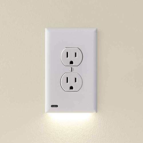 6 Pack - SnapPower GuideLight 2 for Outlets [New Version - LED Light Bar] - Night Light - Electrical Outlet Wall Plate With LED Night Lights - Automatic On/Off Sensor - (Duplex, White)