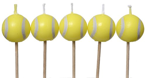 Tennis Birthday Candles (5 pack, spherical balls on picks) Tennis Party Collection by Havercamp from Havercamp