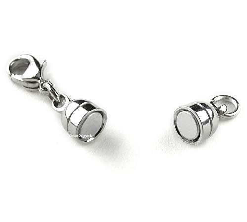 CleverDelights 20 Magnetic Jewelry Clasps - Capsule Style + Lobster Clasp - Silver Color - Converter