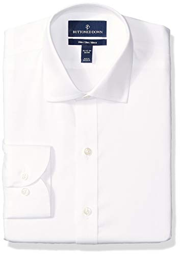 BUTTONED DOWN Men's Slim Fit Spread-Collar Micro Twill Non-Iron Dress Shirt, White, 15
