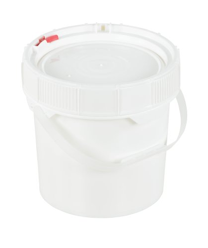Vestil PAIL-SCR-35-W Plastic Screw Top Pail with Lid and Handle, 3.5 gallon Capacity, White ()