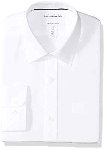 Amazon Essentials Men's Regular-Fit Wrinkle-Resistant Long-Sleeve Solid Dress Shirt, White, 14.5