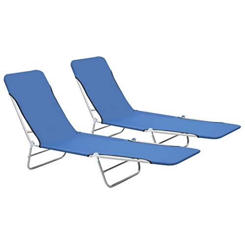 🥇 vidaXL 2X Tumbonas Plegables Azul Jardín Terraza Patio Piscina Playa Porche